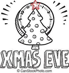 Christmas eve sketch - Doodle style Christmas Eve sketch...
