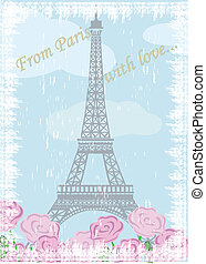 Grunge Eiffel tower with roses