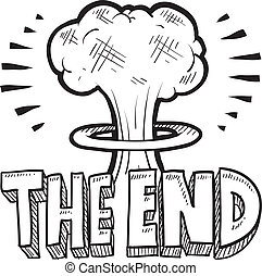 The End apocalypse sketch - Doodle style The End sketch with...
