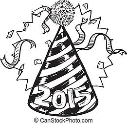 New Year 2015 party hat - Doodle style New Year's Eve...
