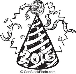 New Year 2016 party hat - Doodle style New Year's Eve...