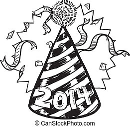 New Year 2014 party hat - Doodle style New Year's Eve...