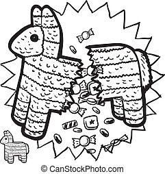 Mexican pinata sketch - Doodle style pinata sketch with...
