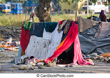 The poor area near the Ganges river in Haridwar, India