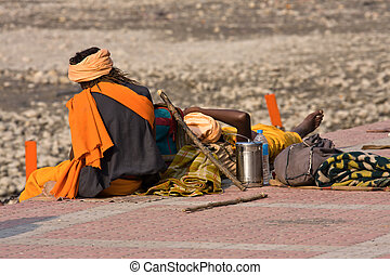 Poor people near the River Ganges in Haridwar, India