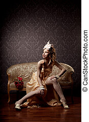 Woman in a luxurious vintage-style - The image of a woman in...
