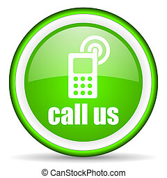 call us green glossy icon on white background