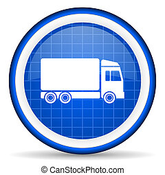 delivery blue glossy icon on white background