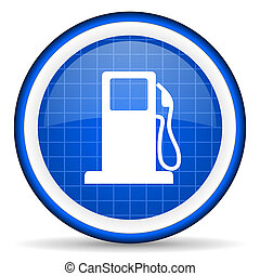 fuel blue glossy icon on white background