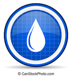 water drop blue glossy icon on white background