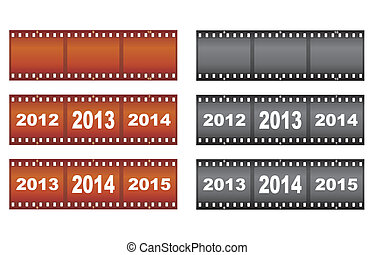 set of New Year filmstrips vector illustration