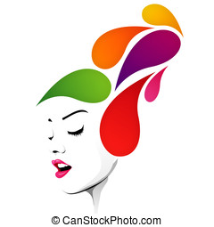 Abstract hairstyle with colorful drops