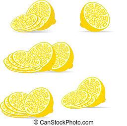 sliced lemon over white, vector