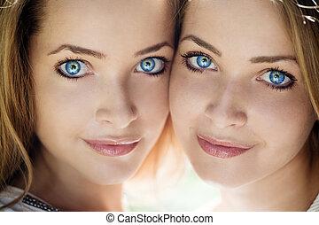 hermoso, azul, ojos,  Womans