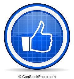 thumb up blue glossy icon on white background