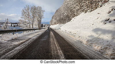 France Rural Road Winter