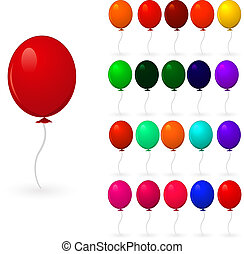 set of colorful balloons on a white background