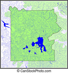 Yellowstone Water Features Map - Map showing the water...