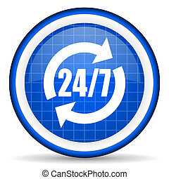 24/7 service blue glossy icon on white background