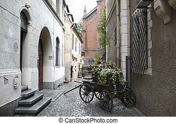 Riga, Latvia. Carriage with flowers. - Carriage with flowers...