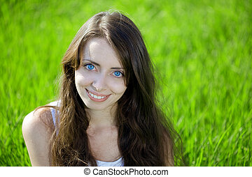 Woman with big unusual eyes - A beautiful woman with big...