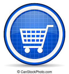 shopping cart blue glossy icon on white background
