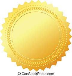 Blank gold token isolated on white, vector illustration