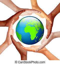 Hands around earth, international friendship concept