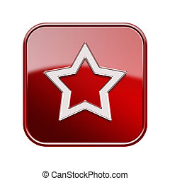 Star icon red, isolated on white background