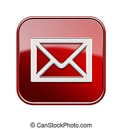 postal envelope icon red, isolated on white background