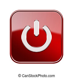 Power button icon red, isolated on white background