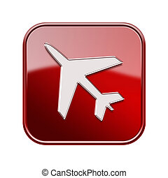 Airplane icon red, isolated on white background