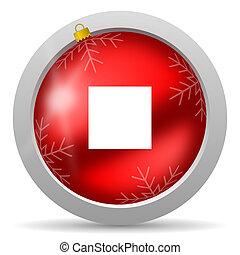 止まれ, グロッシー, 背景, 白, クリスマス, 赤, アイコン