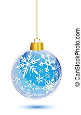 Blue christmas ball with snowflakes pattern hanging on white