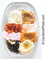 Mezze plate from above - High angle view of a restaurant...