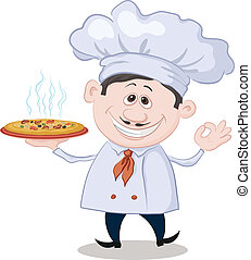 Cook holds a hot pizza - Cartoon cook - chef holds a...