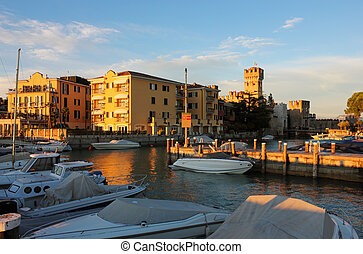 Yacht port in Sirmione, Italy