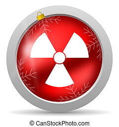 radiation red glossy christmas icon on white background