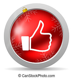 thumb up red glossy christmas icon on white background