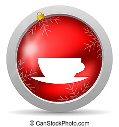 coffee cup red glossy christmas icon on white background