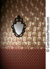 Vintage mirror on the luxury wall with wallpaper - Vintage...