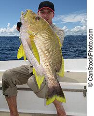 Fishing scene. Blubberlip snapper - Happy fisherman holding...