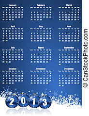 new years 2013 calendar with christmas balls