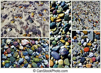 Beach Pepples - Collage of colorful pebbles on the beach