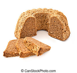Full grain bread isolated on white background