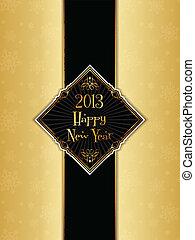 Felice, nuovo, anno, menu, disegno