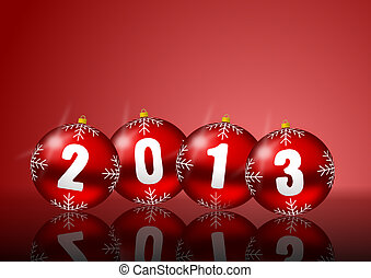 2013 new years illustration with christmas balls