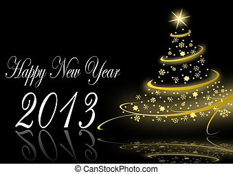 2013 new years illustration with christmas tree - 2013 new...