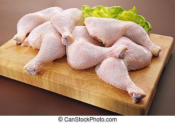 cru, fresco, galinha, pernas, arranjo