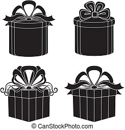 Gift box, silhouette, set